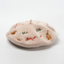 Korean Autumn and Winter New Mori Rabbit Squirrel Leaves Embroidered Wool Wool Beret Artist Hat Wool Hat
