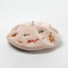 สไตล์เกาหลีฤดูใบไม้ร่วงและฤดูหนาวใหม่Moriกระต่ายกระรอกใบปักผ้าขนสัตว์Beretศิลปินหมวกหมวกขนสัตว์