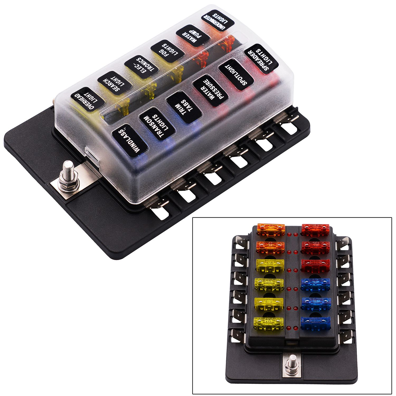12 way spade terminal blade fuse box holder with led light. Black Bedroom Furniture Sets. Home Design Ideas