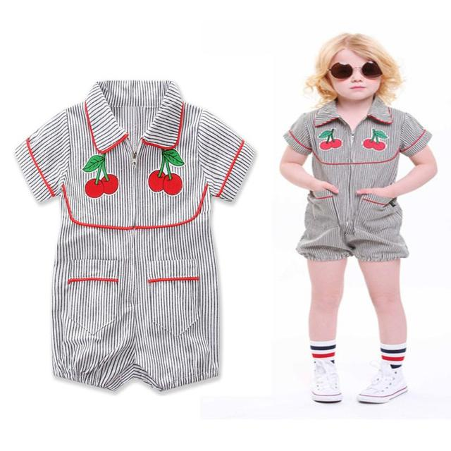 89738a84d017 Black white striped cherry girl rompers Toddler Baby Girl Cherry Pattern  Stripe Romper Jumpsuit Zipper Summer Girl Clothes 0-18M