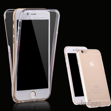 Smart Touch Screen Ultrathin Clear TPU Flexible Soft Double Cover Case For Apple iPhone 6 6S Plus 5 5S 5E 360 Degree Phone Cases