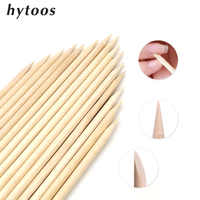 HYTOOS 100Pcs Nail Art Design Orange Wood Sticks Double-end Cuticle Pusher Remover Pedicure Manicure Care Cleaner
