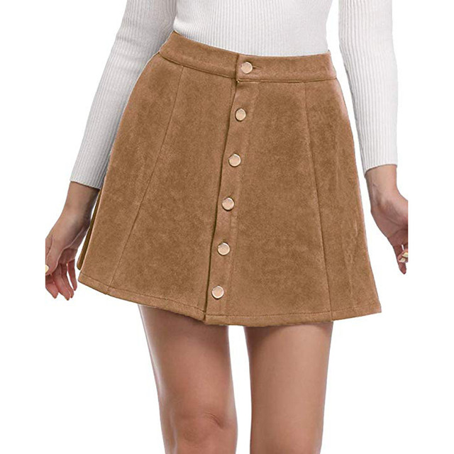 a8fc172cfd13f7 Fashion Suede Leather Women Skirt High Waist Lace Up Button Pocket Preppy  Women Girl Solid Bodycon A-Line Mini Empire Skirt O13