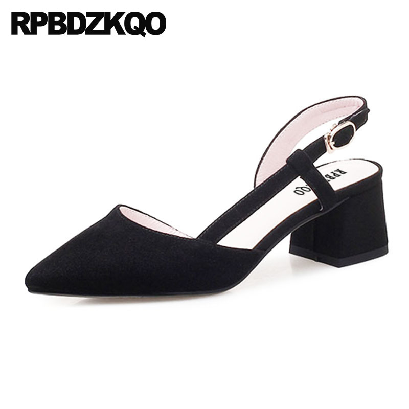 Black Suede Thick Slingback Size 33 Evening Pointed Toe Strap Ladies Genuine Leather Pumps Sheepskin Shoes Women High Heels designer summer two strap sandals purple block high heels suede korean square genuine leather women pumps thick shoes slingback
