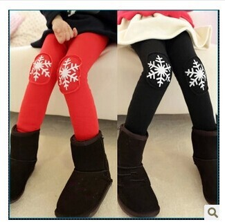 42ebf66b2 2018 high quality winter Female children's pants girls Christmas snowflake  printed plus velvet warm leggings, boots pants