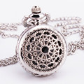 Luxury Curtly Vintage Gothic Baroque Sketelon Hollow Polish Silver Quartz Pocket Watch Long Sweater Chain Necklace Girls TD027