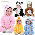 Winter Infant <font><b>Romper</b></font> Baby Boys Girls Jumpsuit Newborn Stitch Clothing Hooded Toddler Baby Clothes Overalls Cute Panda Costumes
