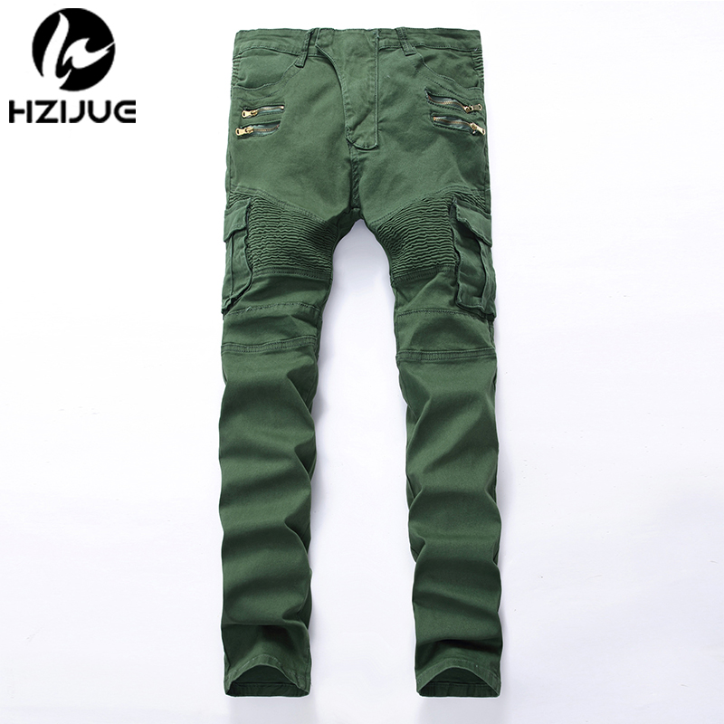 HZIJUE Men's fashion pocket hole ripped   jeans   Casual Zipper patchwork slim straight dark green hip hop denim pants Long trousers