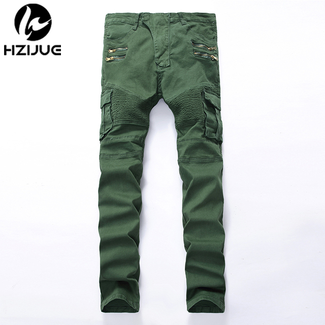 6000ec40db HZIJUE Men s fashion pocket hole ripped jeans Casual Zipper patchwork slim  straight dark green hip hop denim pants Long trousers