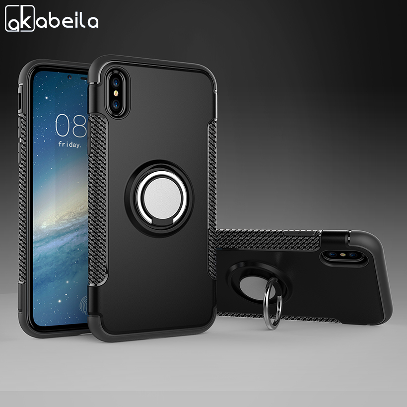 AKABEILA Fitted Cases For Apple iPhone X Case iPhone 10 iPhone Ten 5.8 inch With Finger Ring Grip Holder Kickstand Cover