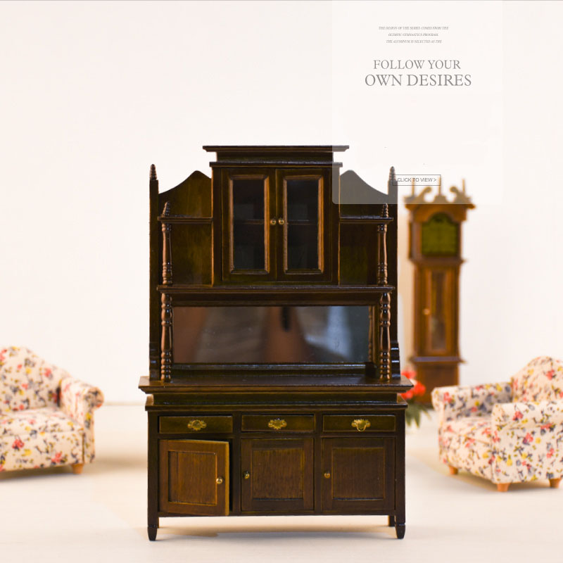 Doub K 1 12 dollhouse furniture toys wooden miniature fairy cabinet doll house pretend play toy