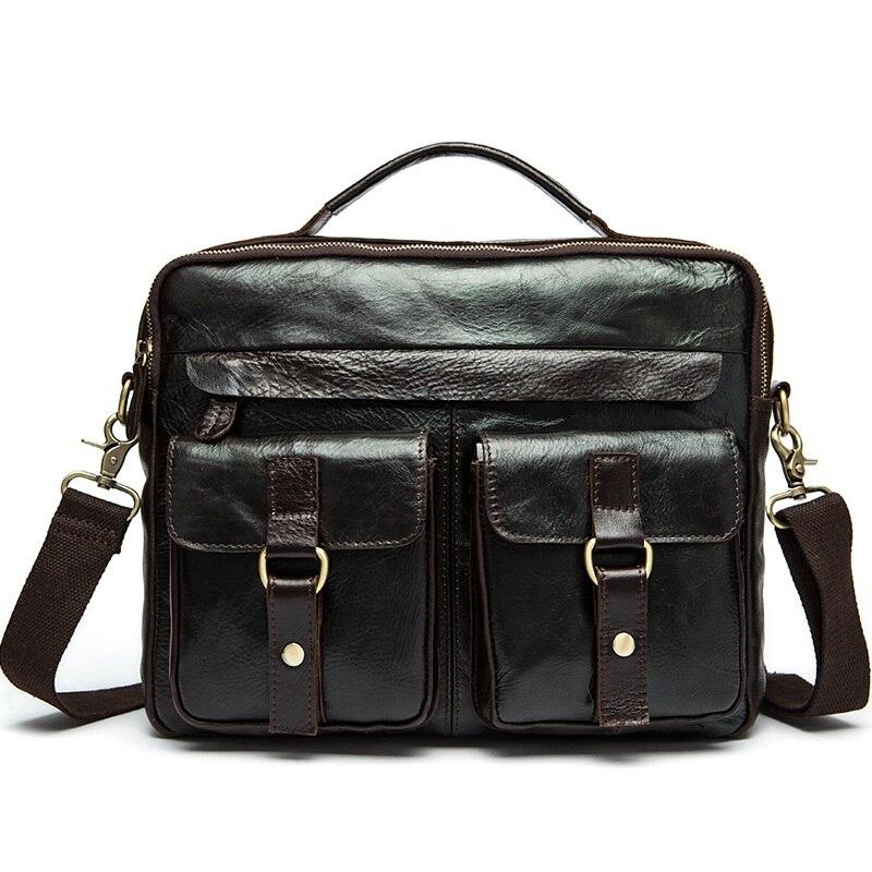 Sacoche pour ordinateur portable en cuir véritable 13.3 pouces porte-documents d'affaires sacs pour Document sacs à main à bandoulière sac pour ordinateur portable