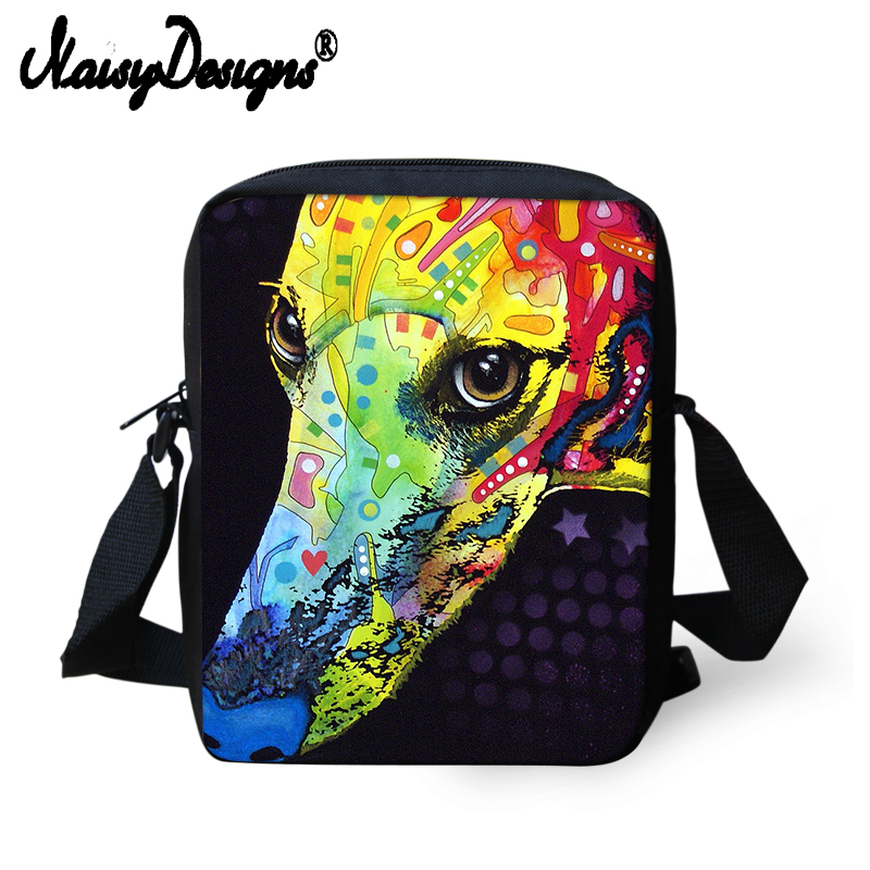 Custom Design Women Messenger Bags 3D Animal Cute Dog Greyhound Pug Printing Shoulder Scool Travel Crossbosy Bag For Girls Flap