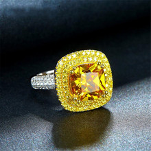 2018 Women's Classic Extravagant S925 Silver Impregnated Ring big Yellow Diamond Princess Shape Fine  jewelry Rings