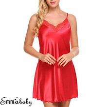 Sexy Sleeveless Nightdress Women s Summer V Neck Lace Strap Sleepwear Silk Nightgown Casual Loose Solid