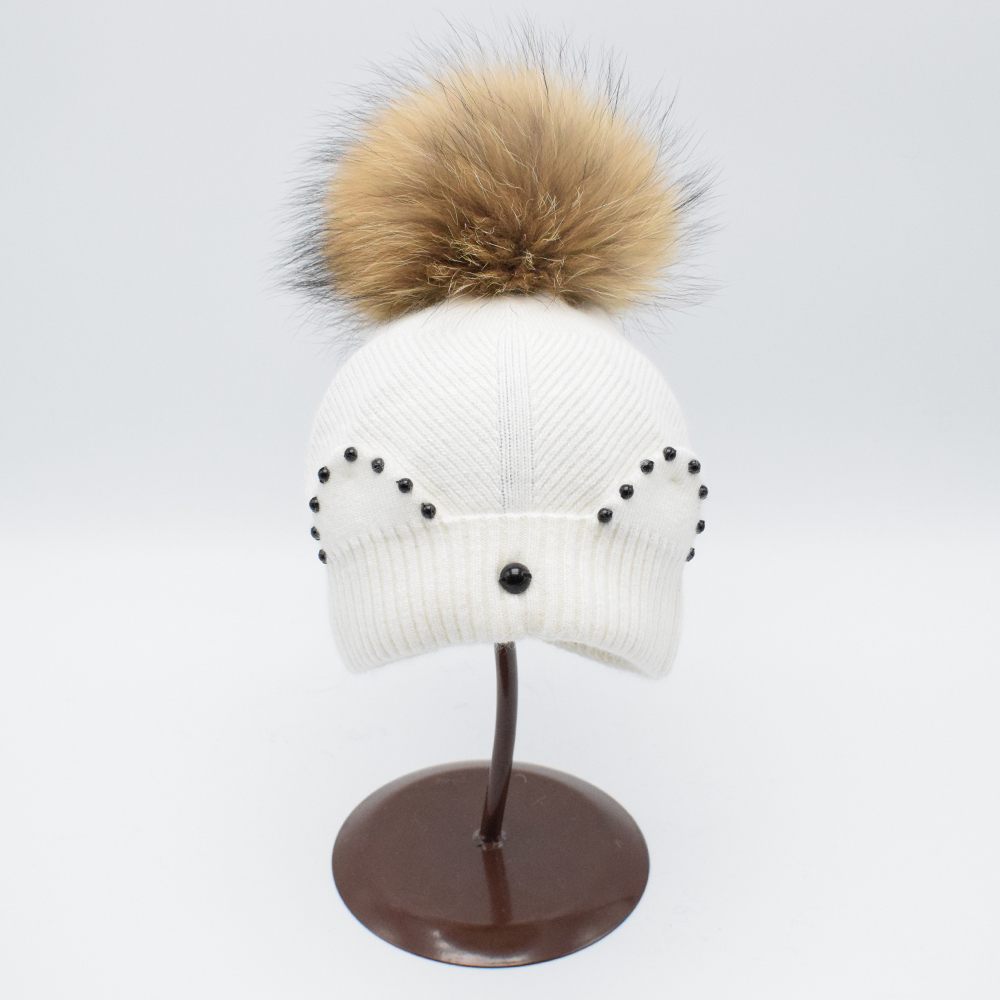 kids pom pom hat baby 100% Real Raccoon Fur Hat Knitted Wool With Fur Pompoms ball Girl Beanies Hat winter Cap For Children winter children wool blend hat for kids with real raccoon fur pom poms beanies unisex apparel accessories for boys girls