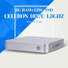 Двухъядерный C1037U Celeron двух-жильный, Оперативной памяти 8 г 128 г ssd, Wi-fi, Вентилятор, Пластиковый чехол, Поддержка Windows 7 / 8 / 8.1, Мини-компьютер, Настольный пк