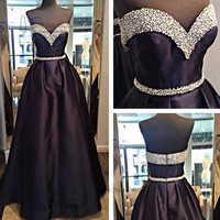 2017 Black Rhinestone Long Evening Gowns Beaded Abiye Gece Elbisesi Satin African Prom Dresses Cheap Belt Vestidos de Gala