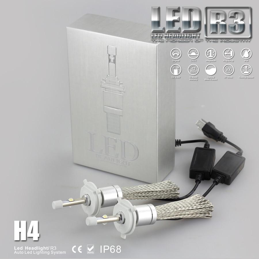 1Pair 80W 9600LM CR R3 LED Headlight H4 H7 H1 H3 H8 H9 H11 9005 9006 9012 9004 9007 H13 Car LED Headlight Bulb 40W 4800LM