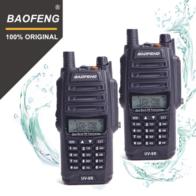 2 pcs 100% D'origine Baofeng IP67 UV-9R Talkie Walkie Étanche 10 km Double Bande UV9R Deux Way Ham Radio Maritime interphone