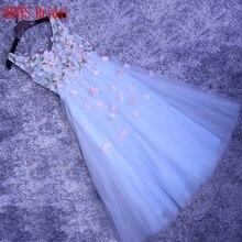 Sky Light Blue Hermosos Vestidos Para Mujer de Baile Vestido de Cóctel para la Fiesta de Cóctel Corto vestidos de coctel jurk renda