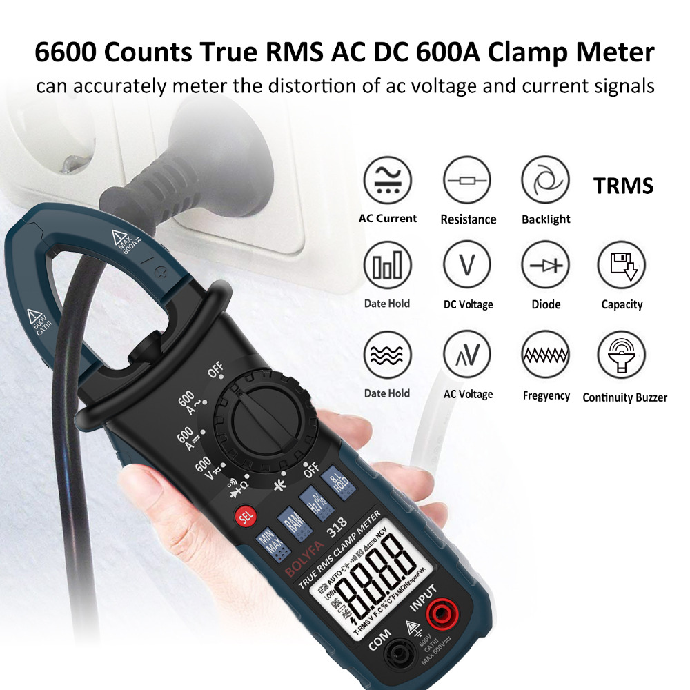 BOLYFA Mini Digital Clamp Meter AC DC Voltage True RMS Current Tester Capacitance Non Contact Auto