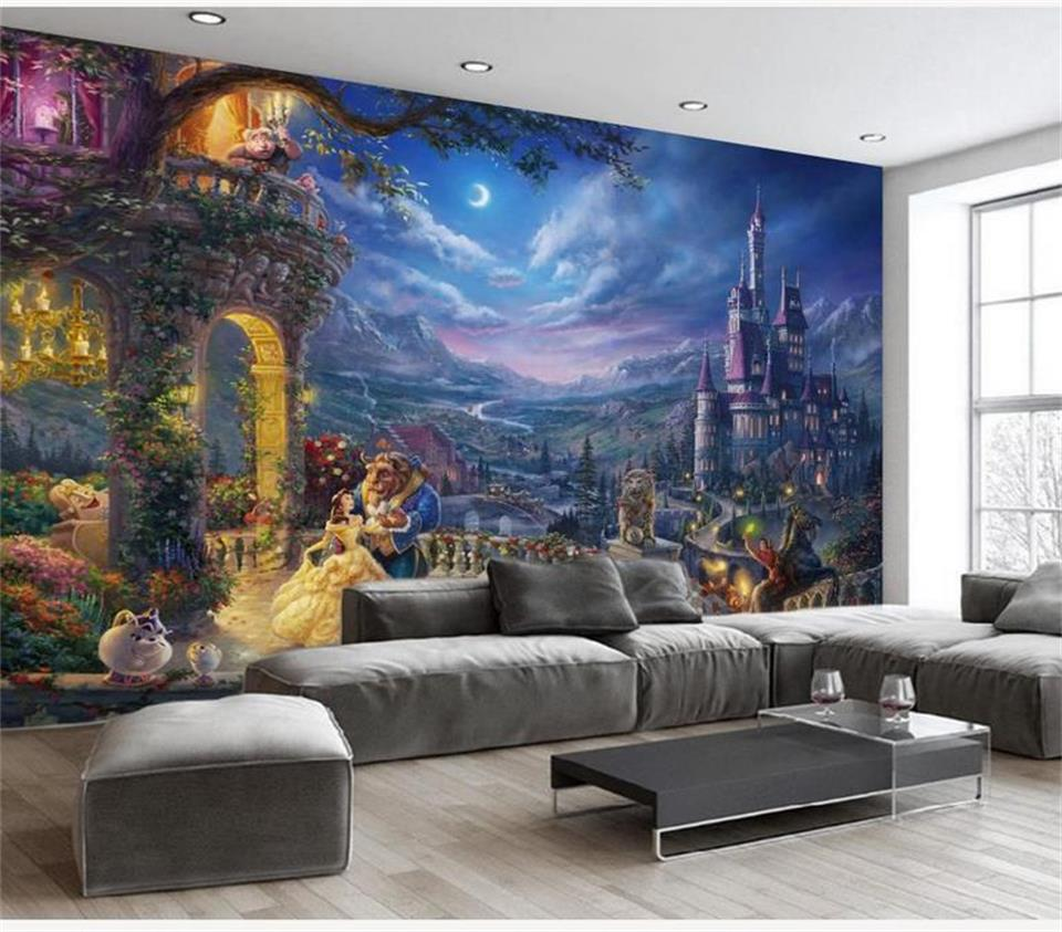 US $14 7 OFF Kustom 3D Foto Wallpaper Mural Ruang Tamu Sofa TV Latar Belakang Retro Dream Castle Princess Lukisan Gambar Wallpaper Dinding