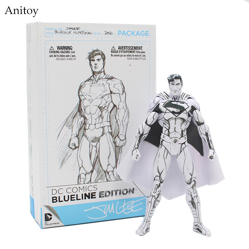 DC Comics Superman Line Drawing Blueline Edition Superman Doll PVC Action Figure Collectible Model Toy 16cm KT3912 neca dc comics batman superman the joker pvc action figure collectible toy 7 18cm