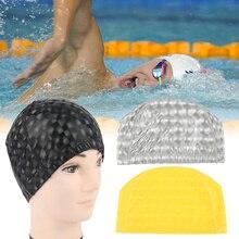 ФОТО elastic pu fabric waterproof swim caps women long hair swimming cap men seaside sports solid bathing hat sporty swimming