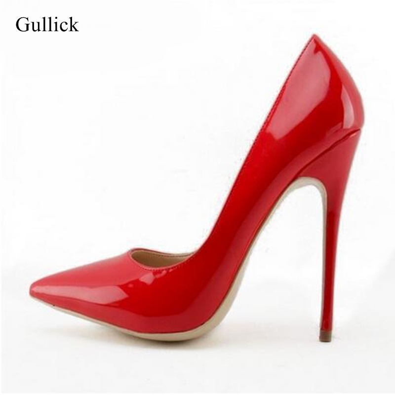 Woman Pointed Toe Stiletto Heels Pumps Patent Leather Woman Party Dress Shoes Slip-on Office Lady Shoes 10cm 12cm Heels Big Size sexy tassel blade heels women pumps pointed toe metal heels party dress shoes big size 10 slip on office lady shoes free ship