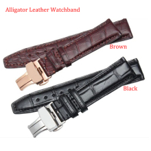 Promotion Alligator Leather Watchband 20mm 21mm 22mm straps Black Brown with stainless steel butterfly buckle silver solid link