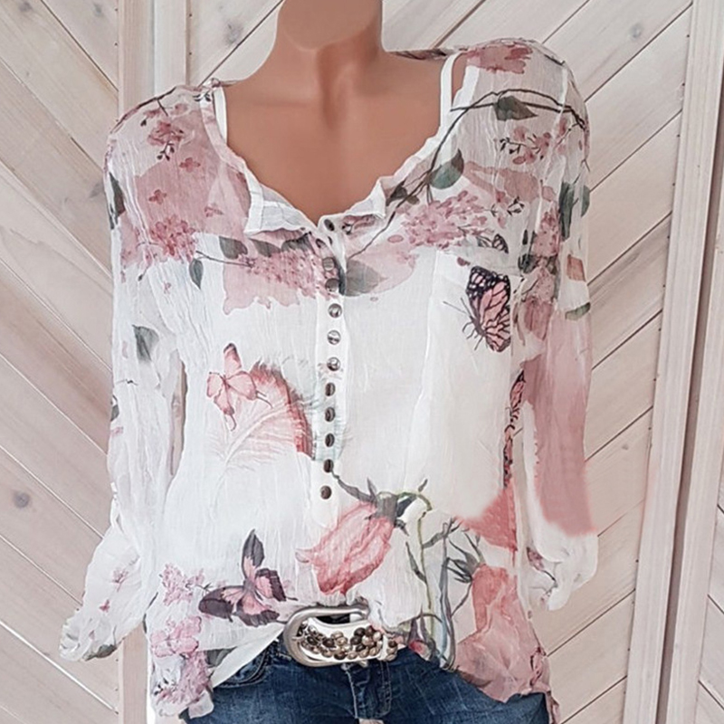 5xl Plus Size Floral butterfly Print Cardigan Blouse O-Neck Long Sleeve Button Fly Shirt Fall See Through Chiffon Ladies Tops