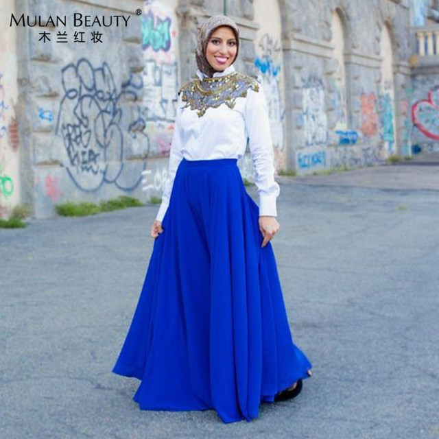 fbba89c49a African Royal Blue Chiffon Long Skirts For Fashion Women Floor Length Maxi  Skirt Jupe Longue 2017