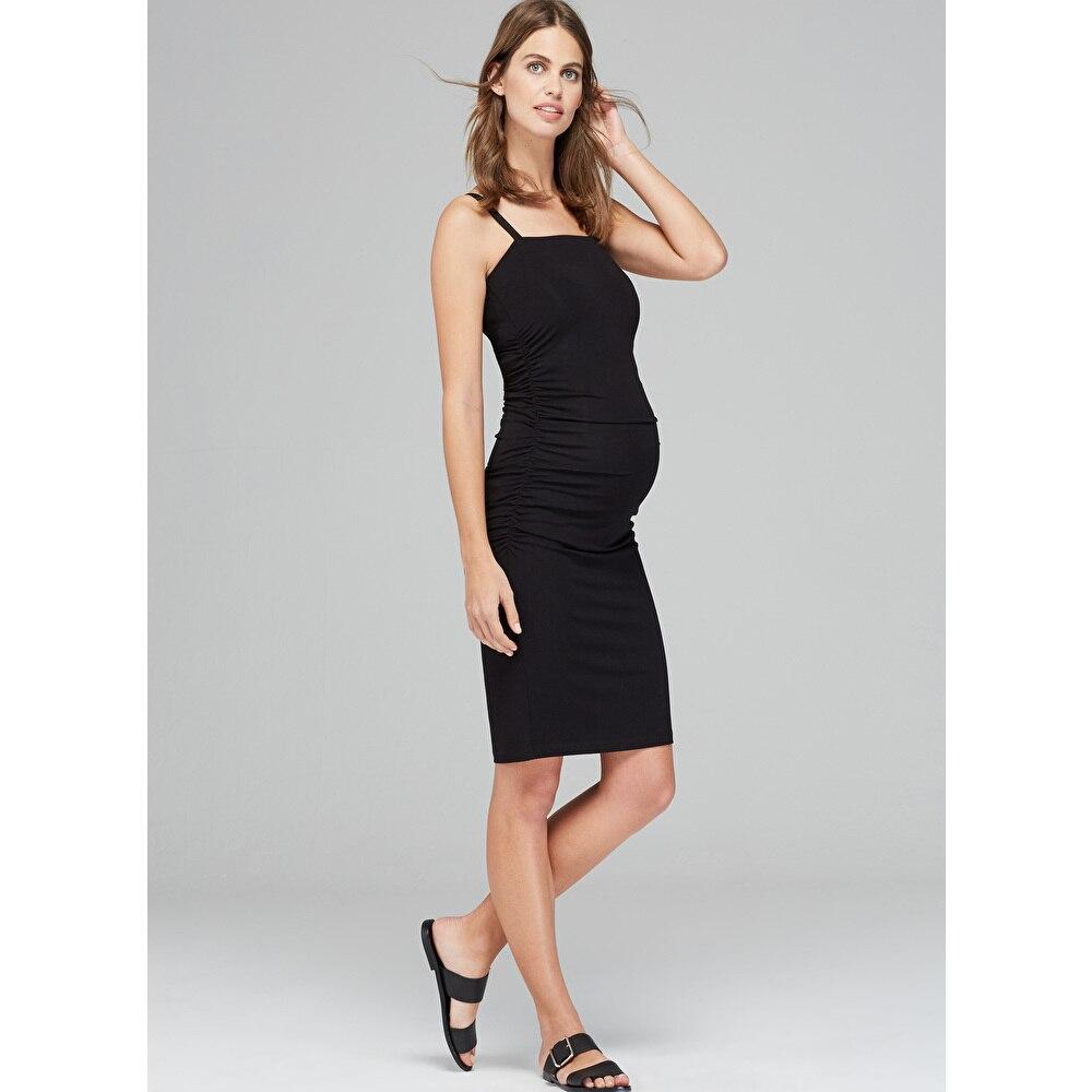 Привет bloom Тенсел женские для беременных черное платье без рукавов до колена Длина Средства ухода за кожей для будущих мам Платья для женщин...