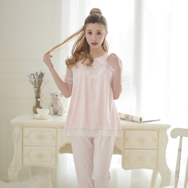 Free Shipping Summer Women s Pajamas Sets Female Cotton Sleepwear Sweet  Princess Pajama 2 Piece Set Lounge def1e8f0d