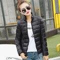 Зима 2016 ультра легкий пуховик женщин большой размер Корейской Тонкий ватник Сплошной Женские Куртки и Куртки