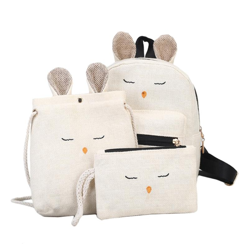 3pcs Linen Cute Rabbit Backpack Crossbody Shoulder Bag Girls Clutch Purse Composite Bags Set Solid Lovely Messenger mochila jooz brand luxury belts solid pu leather women handbag 3 pcs composite bags set female shoulder crossbody bag lady purse clutch