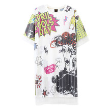 Hip-hop femme rue danse marée costume grande taille T-shirt jupe robe princesse faux deux pièces maille robe rock-and-roll explosion(China)