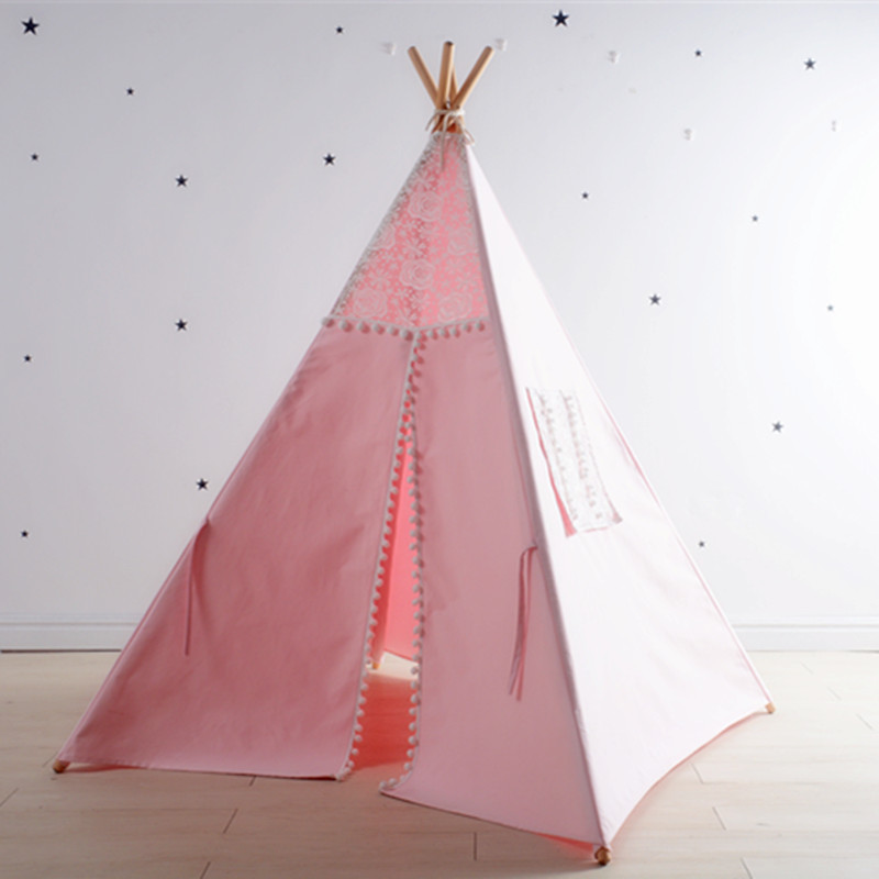 Pink Girls Pom Pom Teepee Play Tent Childrens Tipi Wigwam Tent pink clouds teepee tent indoor childrens play tipi