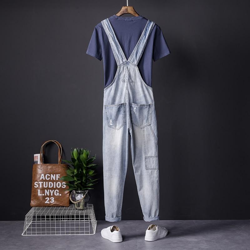 2018 Summer Japanese Mens Casual Trousers Youth Feet Siamese Bib Mens/Mens Slim Suspenders Korean Workwear Size S M L XL XXL