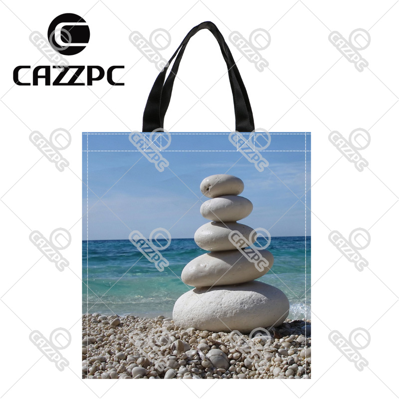 242d6e8fed31 The sea and white stone beach top quality Print Custom individual waterproof  Nylon Fabric shopping bag gift bag Pack of 2