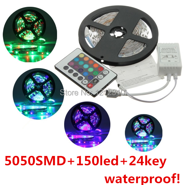 Free Shipping 5050SMD 12V RGB <font><b>Led</b></font> Strip Light 30LEDs/M Waterproof Only RGB/ Changeable Color with 24Keys Controller