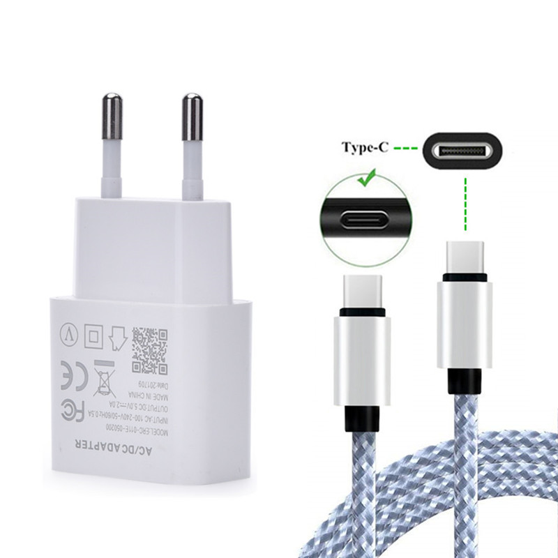 For Xperia 1 10 XA1 XA2 XZ3 Nubia Z17 Mini S Redmi Note 7 Pro Pcoophone F1 Phone Usb EU Charger Fast Adapter & USB Type C Cable