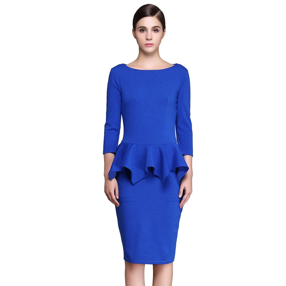 New Blue Women Spring Ruffles Pencil Dresses Lady Cocktail Party Work Business Three Quarter O ...