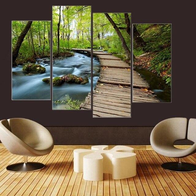 4 Pc Cascade Vert Forêt Route Chambre Déco Peinture Sur Toile La