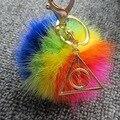 Presente da promoção Harry Potter Chaveiro 8 cm Rainbow Geniune Mink Reais Bola de pêlo Pompom Cadeia Triângulo Pingente de Chave Para As Mulheres Homens saco