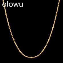 Olowu колье ожерелье для женщин Золотой Серебряный цвет подвеска на цепочке-ожерелье аксессуары богемные ювелирные изделия из нержавеющей стали на заказ