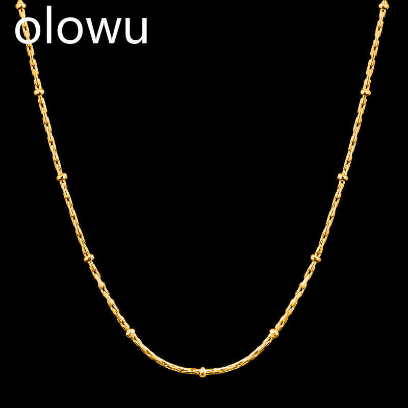 olowu Choker Necklace For Women Gold Silver Color Chain Necklaces Pendant accessories Bohemian Stainless Steel Jewelry custom