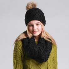 2 Pcs Fashion Set Hat And Scarf For Women Beanie  Female Warm Woollen Knitted Cap Beanies Winter Cap And Scarf Women
