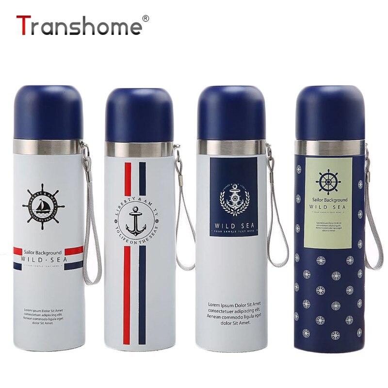 Transhome Thermos Bouteille 500 ml Creative Personnalité Marine Vent Balle Gobelet En Acier Inoxydable Vide Tasse Isolation Bouteille D'eau